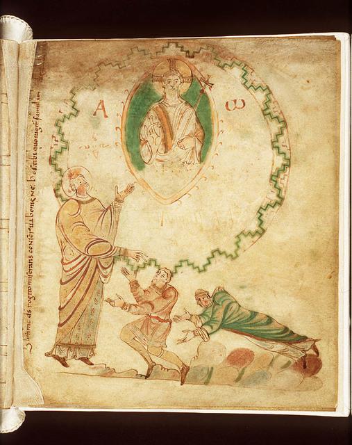 Dirk II and his wife Hildegard kneel before St. Adalbert, patron of Egmond Abbey
