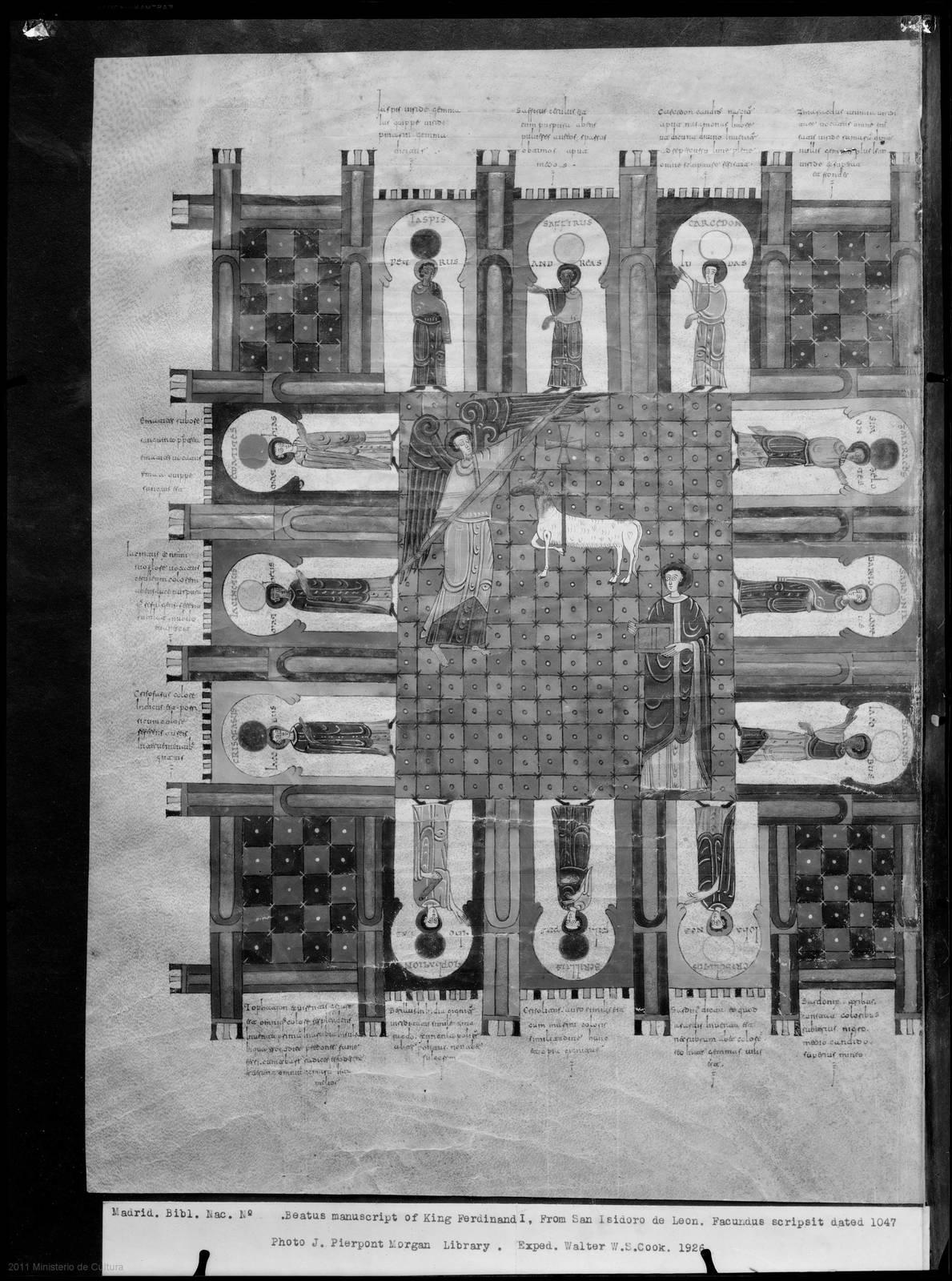 [MADRID. BIBL. NAC. Nº . BEATUS MANUSCRIPT OF KING FERDINAND I, FROM SAN ISIDORO DE LEON. FACUNDUS SCRIPSIT DATED 1047.] [Material gráfico]