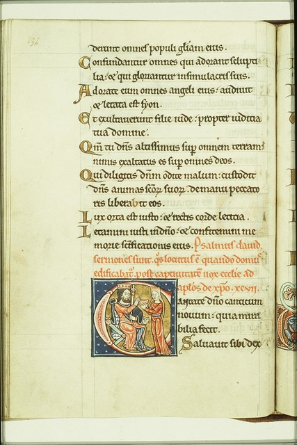 A woman (Ecclesia?) holding a chalice before David
