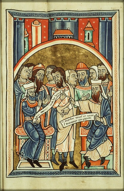 Caiaphas and the priests conspiring against Christ