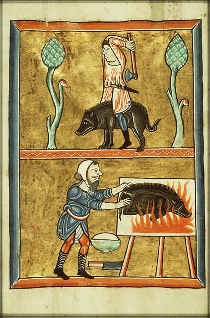 December: a man slaughtering a pig and singeing off his bristles