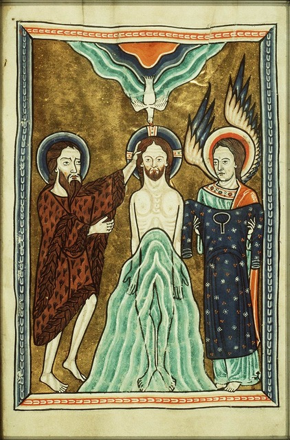 The baptism of Christ by St. John the Baptist, an angel holds Christ's robe