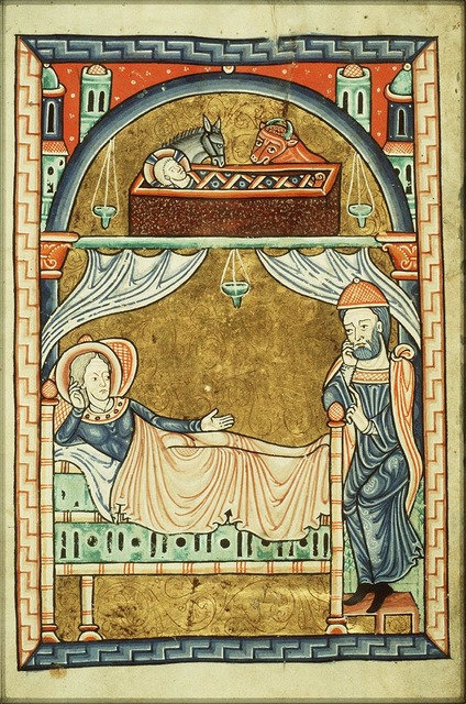 The Nativity: the Christ-child in the manger, Mary lies in bed, St. Joseph at her feet