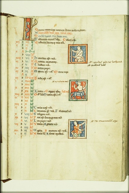 Three small miniatures: two of bloodletting (above and below) and in the middle Sagittarius for November