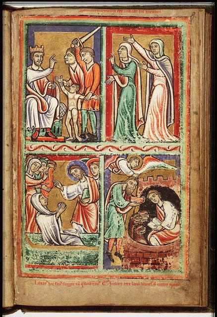 Habakkuk, carried by an angel, brings food to Daniel in the lion's den