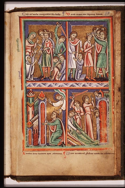 Saul speaks with the ghost of Samuel raised by the Witch of Endor; the corpses of Saul and his sons are beheaded by the Philistines