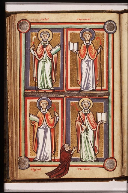 St. Bertin of Artois holding a staff and a book, with a kneeling donor
