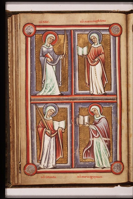 St. Columba of Sens holding a palm and a book