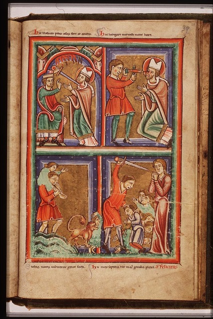 St. Eustace of Rome crossing a river, one of his sons is seized by a lion