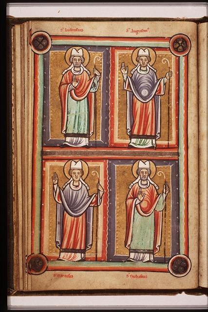 St. Nigasius, Bishop of Rouen, holding a staff