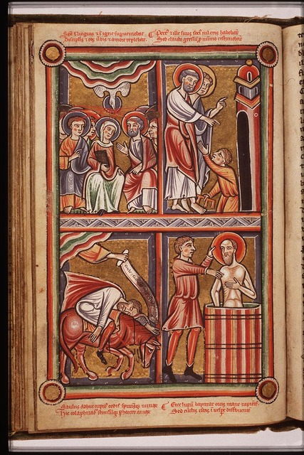 St. Peter and St. John heal a lame beggar at the Beautiful Gate of the temple