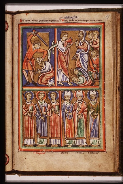 St. Stephen and two martyrs holding palms and books