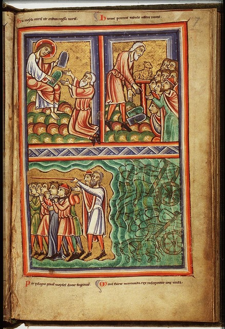 The Israelites cross the Red Sea; Pharaoh's army perishes in the water