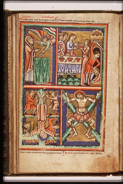 The martyrdom of St. Andrew: he is crucified