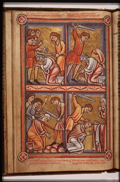 The martyrdom of St. James the Less: he is stoned and beaten to death