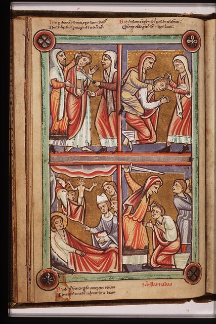 The martyrdom of St. Thomas: he is stabbed to death