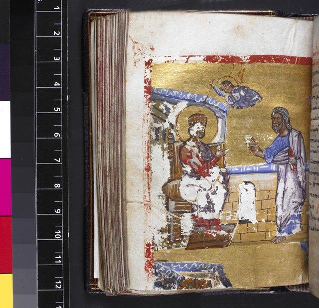 Prophet Nathan and king David from BL Harley 5535, f. 67v