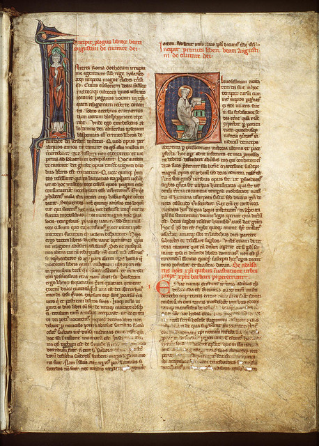 St. Augustine, Bishop of Hippo, with an open book and a pen-knife