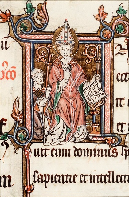 St. Augustine, Bishop of Hippo, holding a book and a staff; Johannes de Marchello