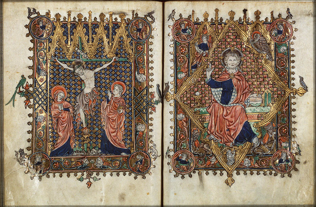 The Crucifixion, with Mary and St. John, angels holding sun and moon; Ecclesia and Synagogue; a chalice below Christ's feet catches his blood