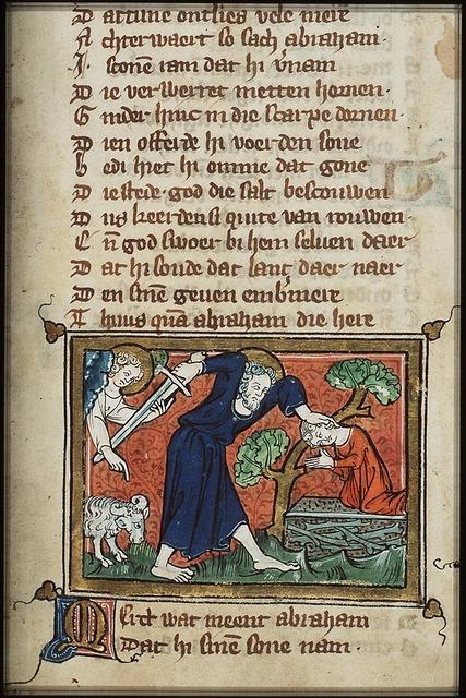 Abraham sacrifices Isaac, an angel restrains his sword