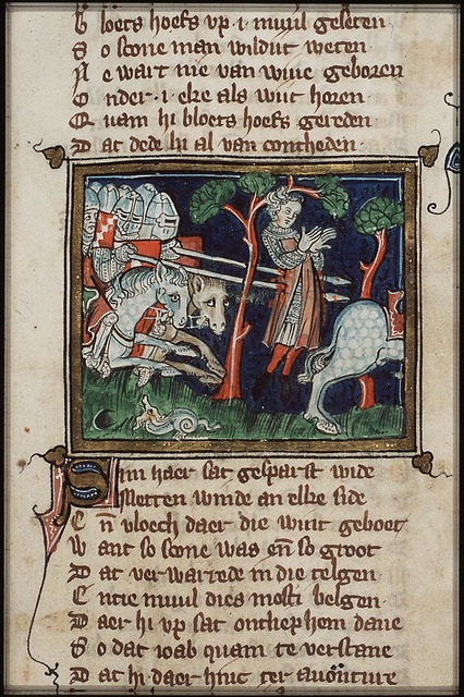 Absalom's death: pursued by Joab, he remains hanging by his hair in an oak-tree and is pierced by spears