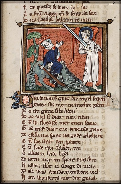 Balaam's way is barred by an angel, invisible to Balaam; Balaam strikes his ass, whereupon the ass lies down and starts to speak