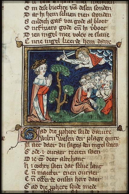 David sees the avenging angel punishing the people with the plague