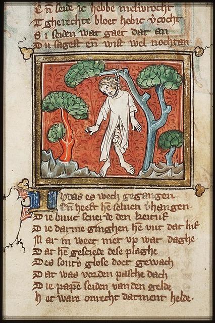 Death of Judas: Judas hangs himself from a tree