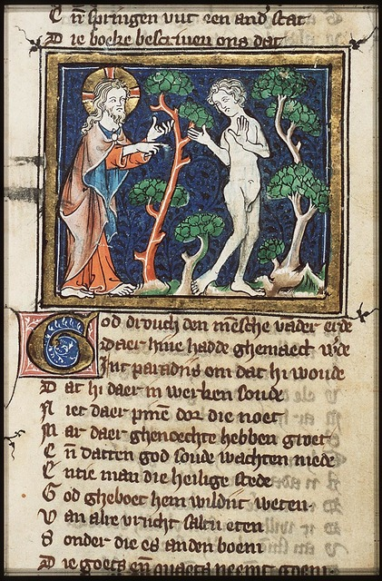 God warns Adam not to eat from the Tree of Knowlegde of Good and Evil