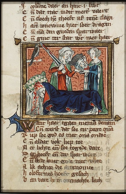 Holofernes beheaded by Judith with his own sword; Judith gives the head of Holofernes to her maid