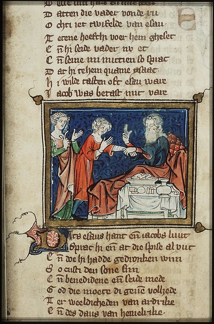 Isaac, sitting in bed, blesses Jacob who, disguised in Esau's clothes, brings food to his father, in the presence of Rebekah; Isaac touches Jacob's arm