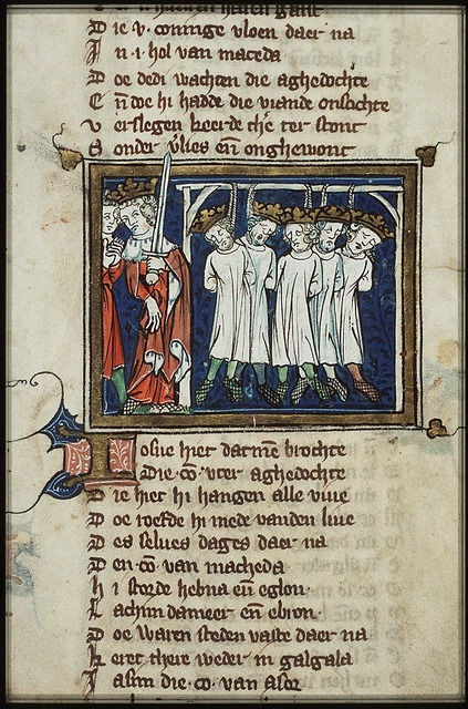 Joshua orders the death of the five Amorite kings and their bodies are hanged as a display