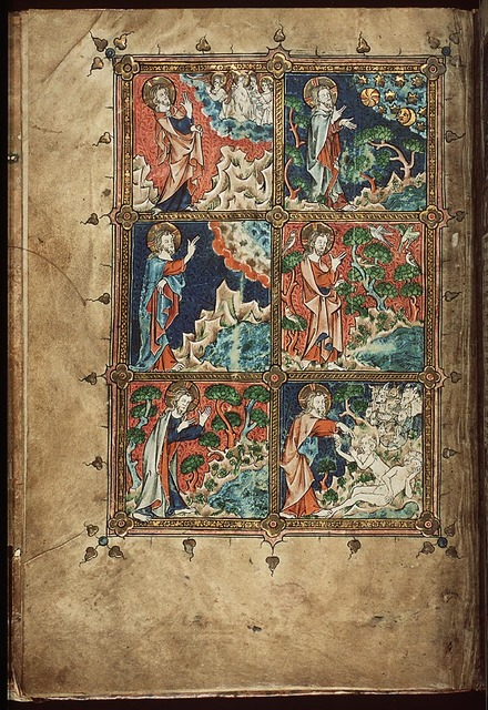 The Creation: God forms Eve from Adam's rib; the creation of the beasts of the field (background) (6th of 6)