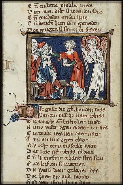 The healing of Tobit: Tobias puts the gall of the fish on his father's eyes