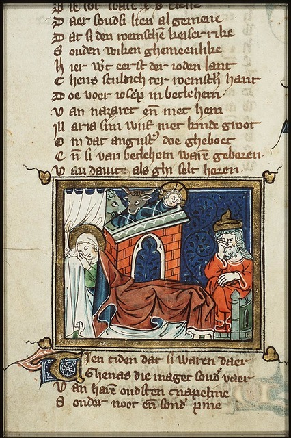 The Nativity: Mary lies in bed, the Christ-child in the manger, St. Joseph sitting