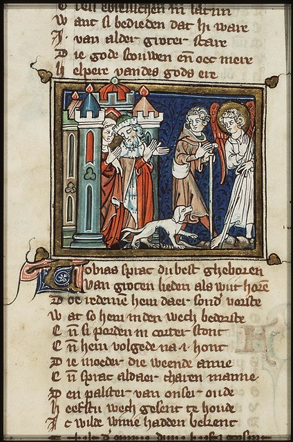 Tobias and the angel Raphael taking leave of Tobit and Anna