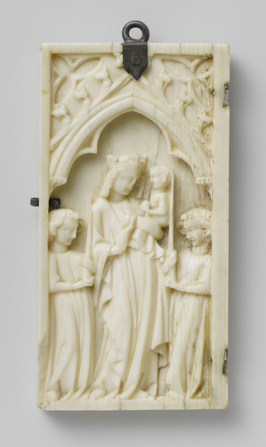 Left wing of a diptych, Virgin and Child flanked by Angels