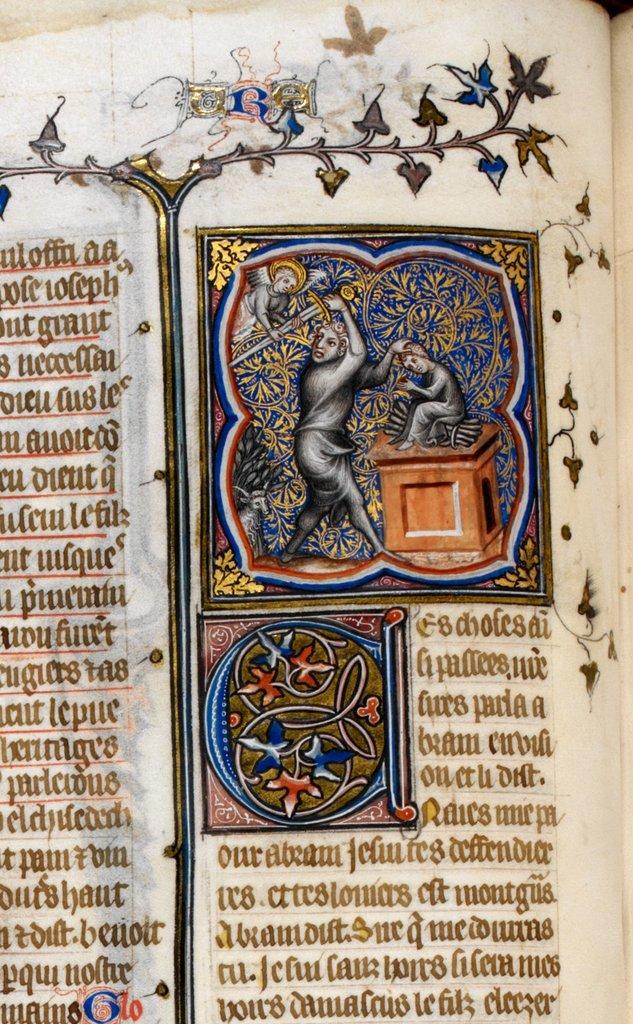 Abraham and Isaac from BL Royal 17 E VII, f. 17v