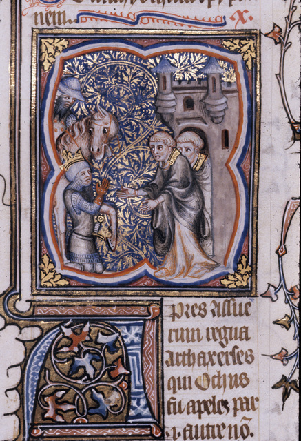 Alexander kneeling to the high preist from BL Royal 17 E VII, f. 227