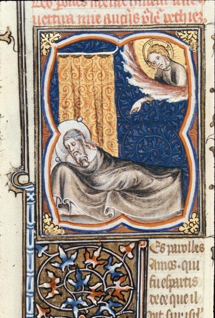 Amos sleeping from BL Royal 17 E VII, f. 102v