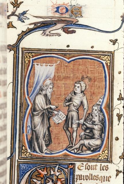 Baruch teaching from BL Royal 17 E VII, f. 75