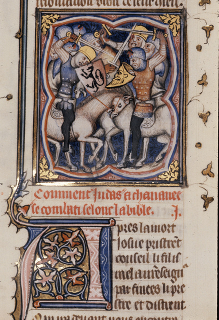 Battle with the Canaanites from BL Royal 17 E VII, f. 111