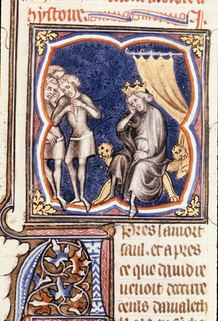 David mourning for Saul from BL Royal 17 E VII, f. 134v