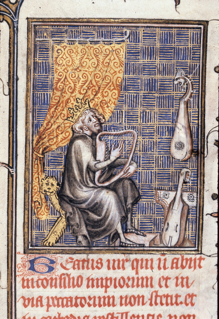 David playing musical instruments from BL Royal 17 E VII, f. 231