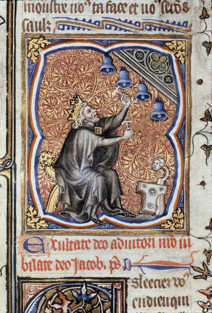 David playing the bells from BL Royal 17 E VII, f. 247