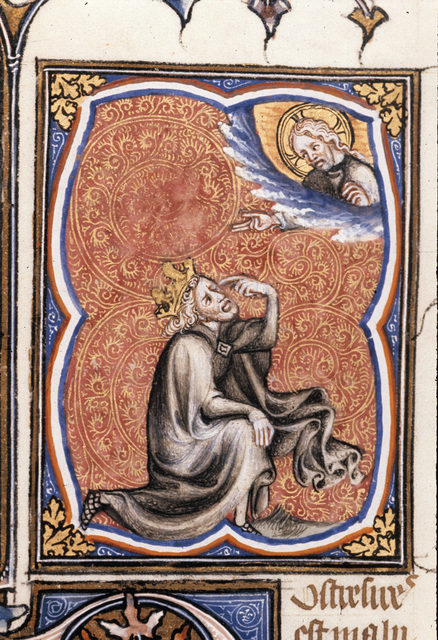 David pointing to his eye from BL Royal 17 E VII, f. 235v