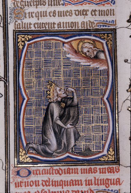 David pointing to his lips from BL Royal 17 E VII, f. 238
