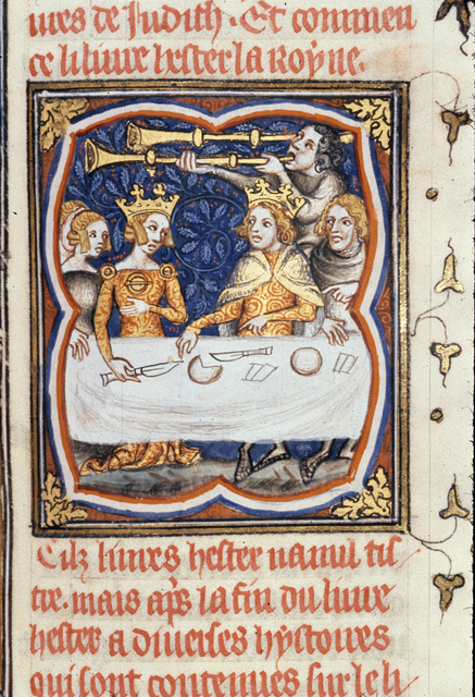 Esther and Ahasuerus from BL Royal 17 E VII, f. 222