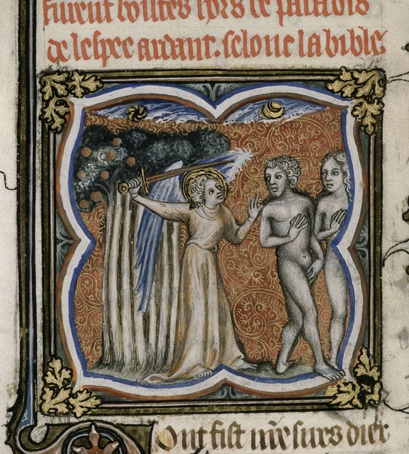 Explusion of Adam and Eve from BL Royal 17 E VII, f. 8v